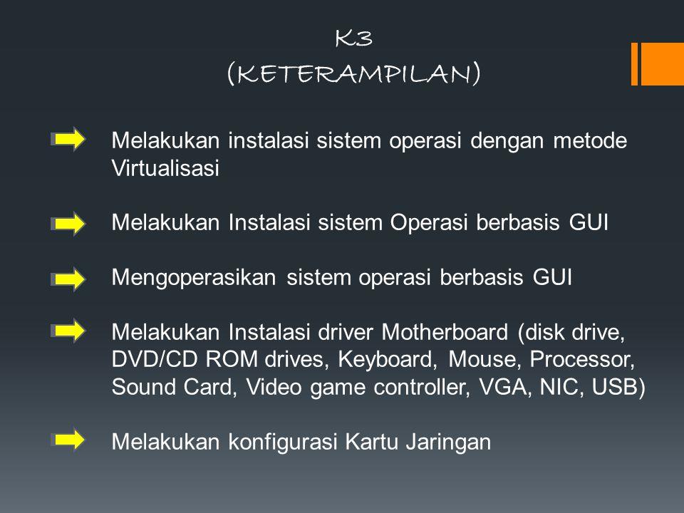 K3 (KETERAMPILAN) Melakukan instalasi sistem operasi dengan metode Virtualisasi Melakukan Instalasi sistem Operasi berbasis GUI Mengoperasikan sistem