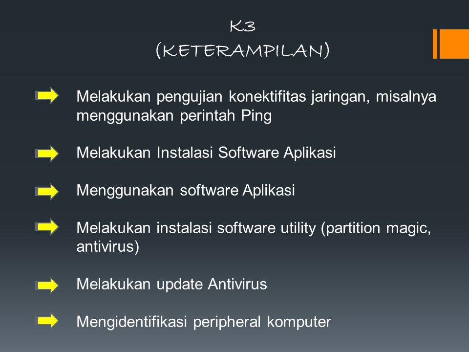 K3 (KETERAMPILAN) Melakukan pengujian konektifitas jaringan, misalnya menggunakan perintah Ping Melakukan Instalasi Software Aplikasi Menggunakan soft
