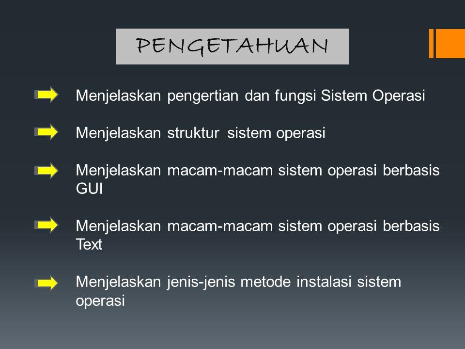PENGETAHUAN Menjelaskan pengertian dan fungsi Sistem Operasi Menjelaskan struktur sistem operasi Menjelaskan macam-macam sistem operasi berbasis GUI M
