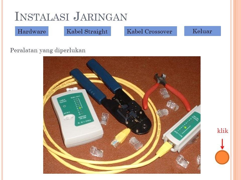 I NSTALASI J ARINGAN Peralatan yang diperlukan HardwareKabel StraightKabel Crossover Keluar klik