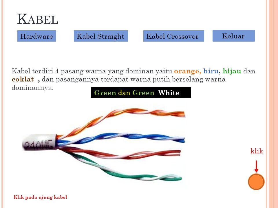 K ABEL Kabel terdiri 4 pasang warna yang dominan yaitu orange, biru, hijau dan coklat, dan pasangannya terdapat warna putih berselang warna dominannya.