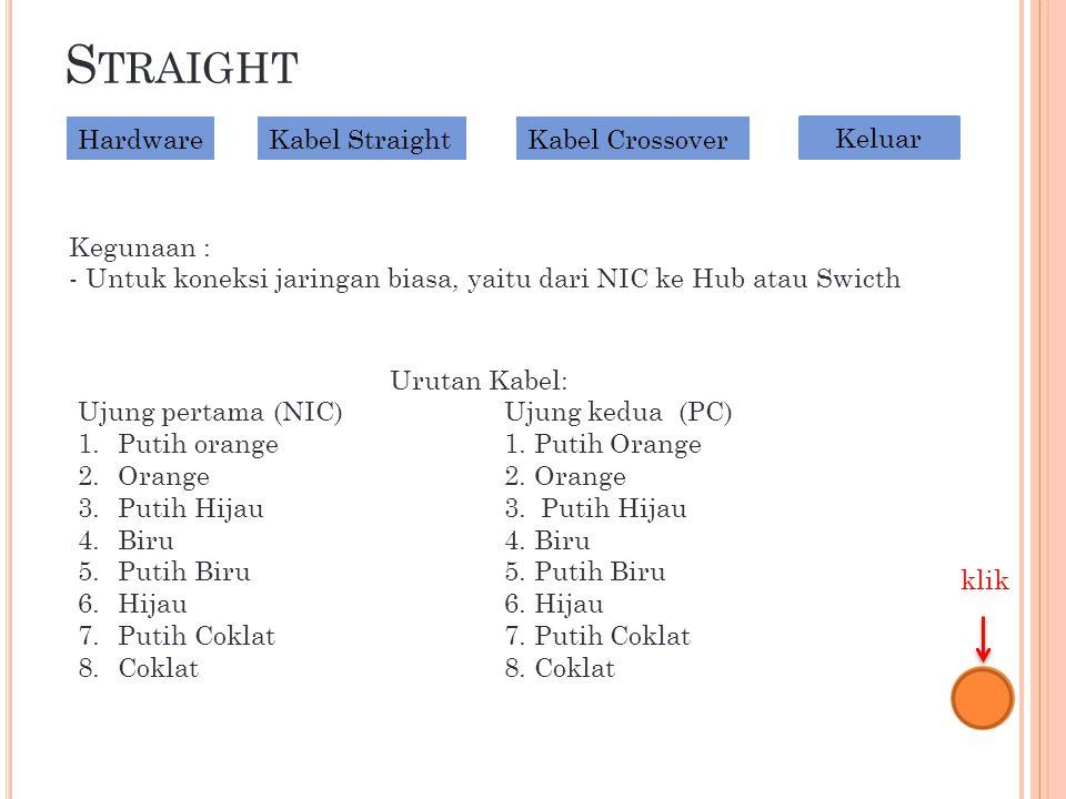 S TRAIGHT Kegunaan : - Untuk koneksi jaringan biasa, yaitu dari NIC ke Hub atau Swicth Urutan Kabel: Ujung pertama (NIC)Ujung kedua (PC) 1.Putih orange1.