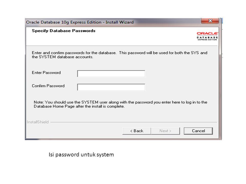 Isi password untuk system