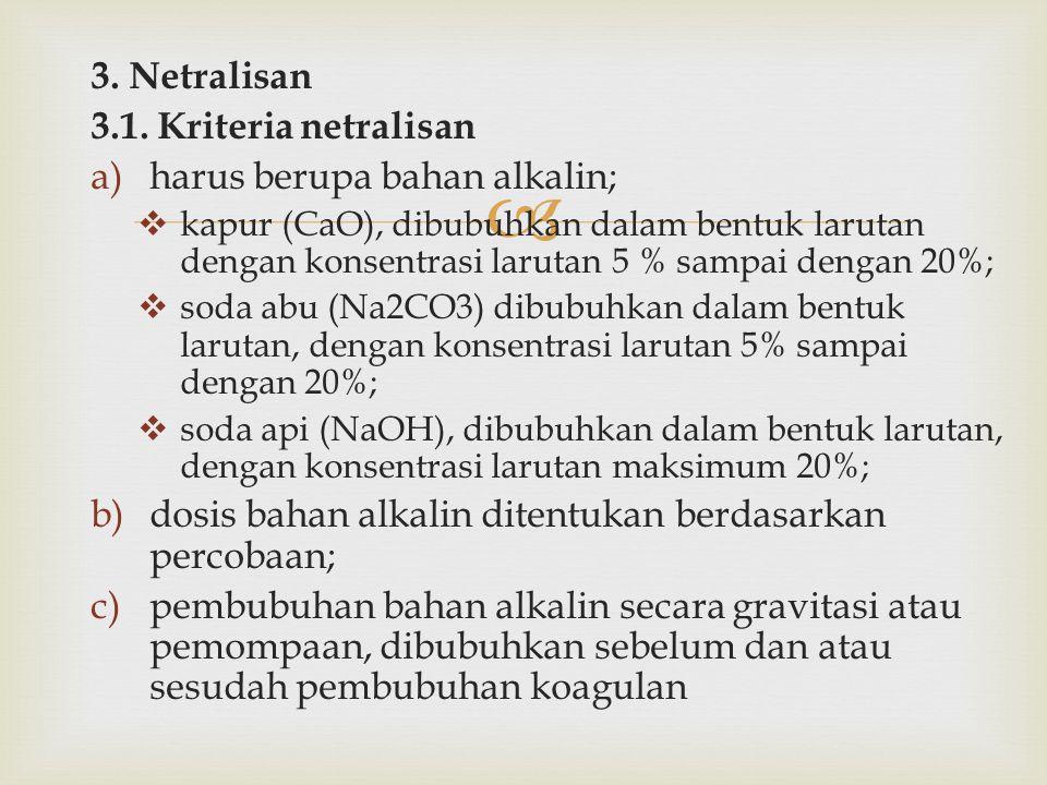  3. Netralisan 3.1. Kriteria netralisan a)harus berupa bahan alkalin;  kapur (CaO), dibubuhkan dalam bentuk larutan dengan konsentrasi larutan 5 % s
