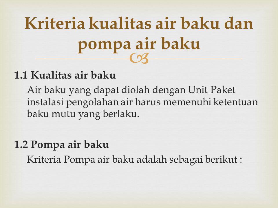  1.1 Kualitas air baku Air baku yang dapat diolah dengan Unit Paket instalasi pengolahan air harus memenuhi ketentuan baku mutu yang berlaku. 1.2 Pom