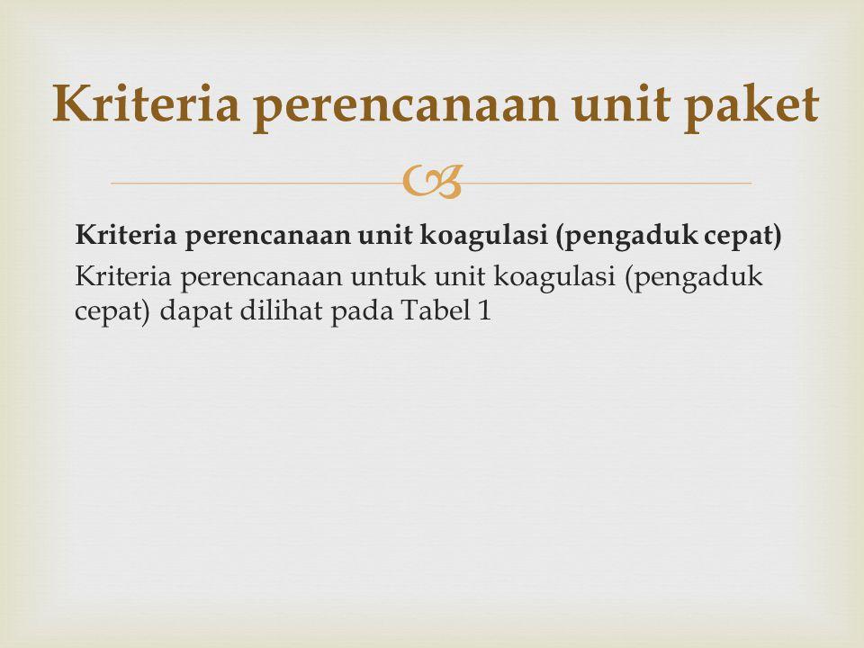  Kriteria perencanaan unit koagulasi (pengaduk cepat) Kriteria perencanaan untuk unit koagulasi (pengaduk cepat) dapat dilihat pada Tabel 1 Kriteria
