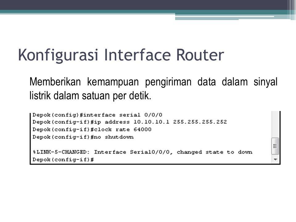 Konfigurasi Interface Router Memberikan kemampuan pengiriman data dalam sinyal listrik dalam satuan per detik.