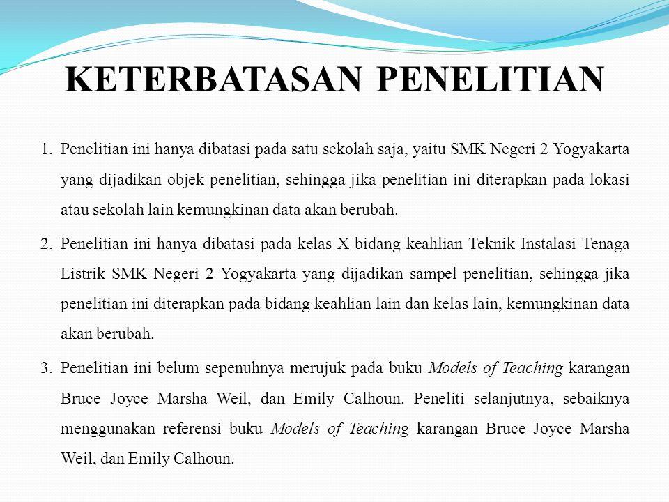 KETERBATASAN PENELITIAN 1.Penelitian ini hanya dibatasi pada satu sekolah saja, yaitu SMK Negeri 2 Yogyakarta yang dijadikan objek penelitian, sehingga jika penelitian ini diterapkan pada lokasi atau sekolah lain kemungkinan data akan berubah.