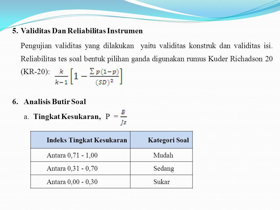 5.Validitas Dan Reliabilitas Instrumen Pengujian validitas yang dilakukan yaitu validitas konstruk dan validitas isi. Reliabilitas tes soal bentuk pil