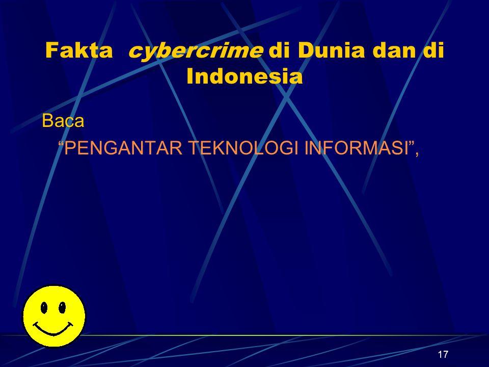 """17 Fakta cybercrime di Dunia dan di Indonesia Baca """"PENGANTAR TEKNOLOGI INFORMASI"""","""