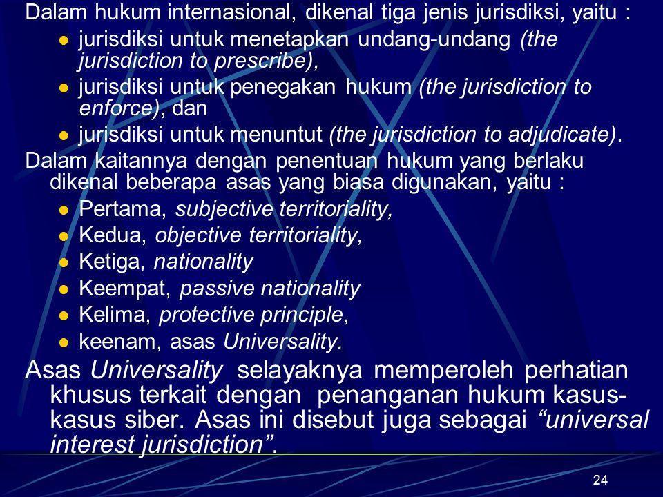 24 Dalam hukum internasional, dikenal tiga jenis jurisdiksi, yaitu : jurisdiksi untuk menetapkan undang-undang (the jurisdiction to prescribe), jurisd