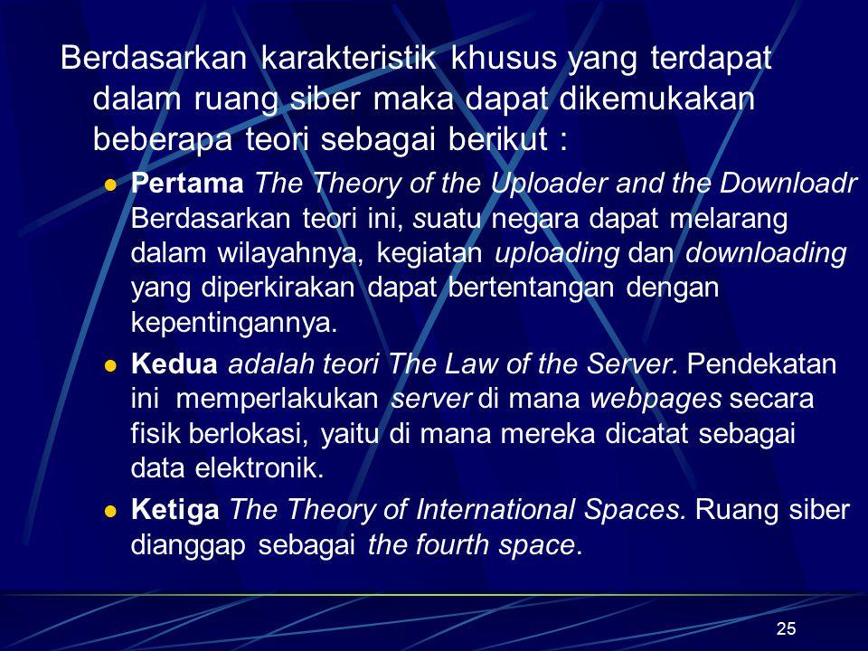 25 Berdasarkan karakteristik khusus yang terdapat dalam ruang siber maka dapat dikemukakan beberapa teori sebagai berikut : Pertama The Theory of the
