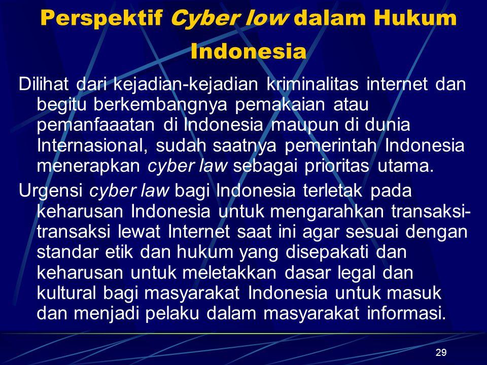 29 Perspektif Cyber low dalam Hukum Indonesia Dilihat dari kejadian-kejadian kriminalitas internet dan begitu berkembangnya pemakaian atau pemanfaaata
