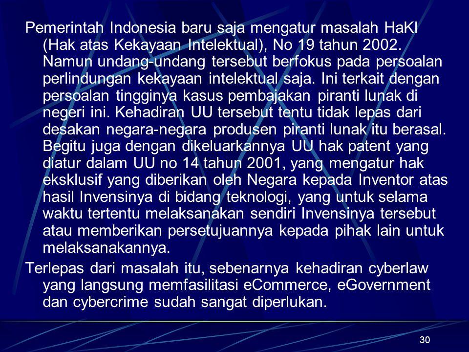 30 Pemerintah Indonesia baru saja mengatur masalah HaKI (Hak atas Kekayaan Intelektual), No 19 tahun 2002. Namun undang-undang tersebut berfokus pada