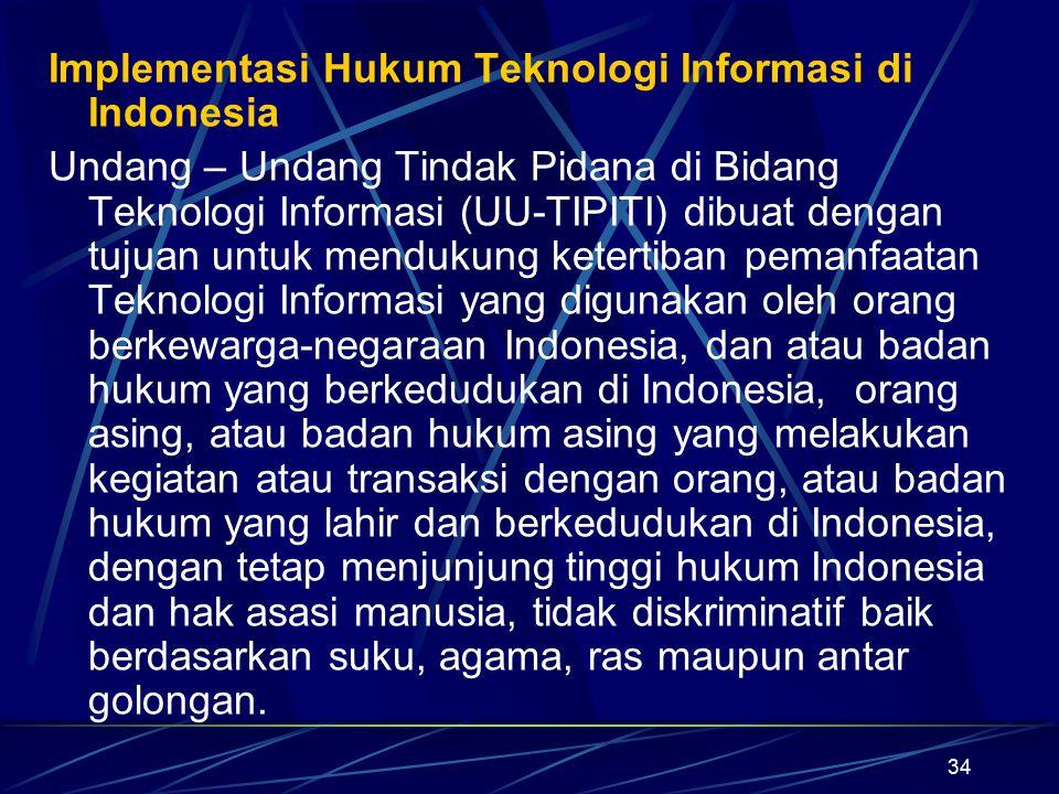 34 Implementasi Hukum Teknologi Informasi di Indonesia Undang – Undang Tindak Pidana di Bidang Teknologi Informasi (UU-TIPITI) dibuat dengan tujuan un