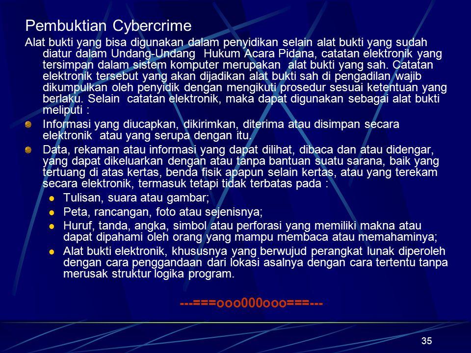 35 Pembuktian Cybercrime Alat bukti yang bisa digunakan dalam penyidikan selain alat bukti yang sudah diatur dalam Undang-Undang Hukum Acara Pidana, c