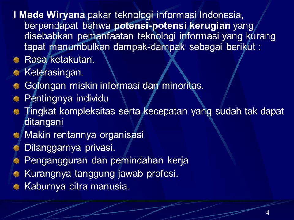 4 I Made Wiryana pakar teknologi informasi Indonesia, berpendapat bahwa potensi-potensi kerugian yang disebabkan pemanfaatan teknologi informasi yang