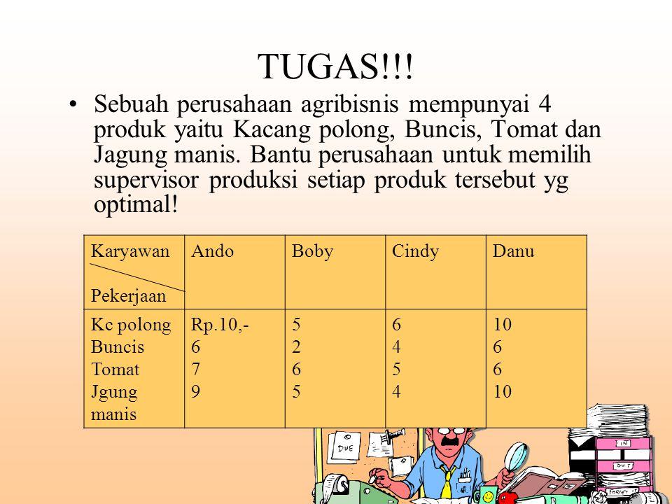 TUGAS!!! Sebuah perusahaan agribisnis mempunyai 4 produk yaitu Kacang polong, Buncis, Tomat dan Jagung manis. Bantu perusahaan untuk memilih superviso