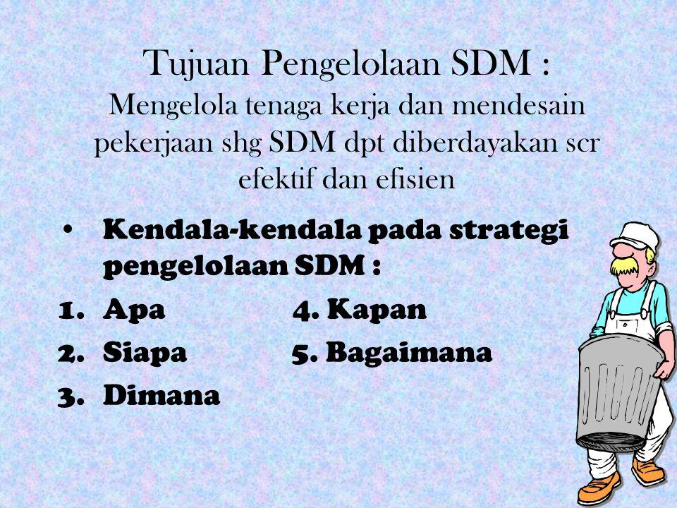 Tujuan Pengelolaan SDM : Mengelola tenaga kerja dan mendesain pekerjaan shg SDM dpt diberdayakan scr efektif dan efisien Kendala-kendala pada strategi