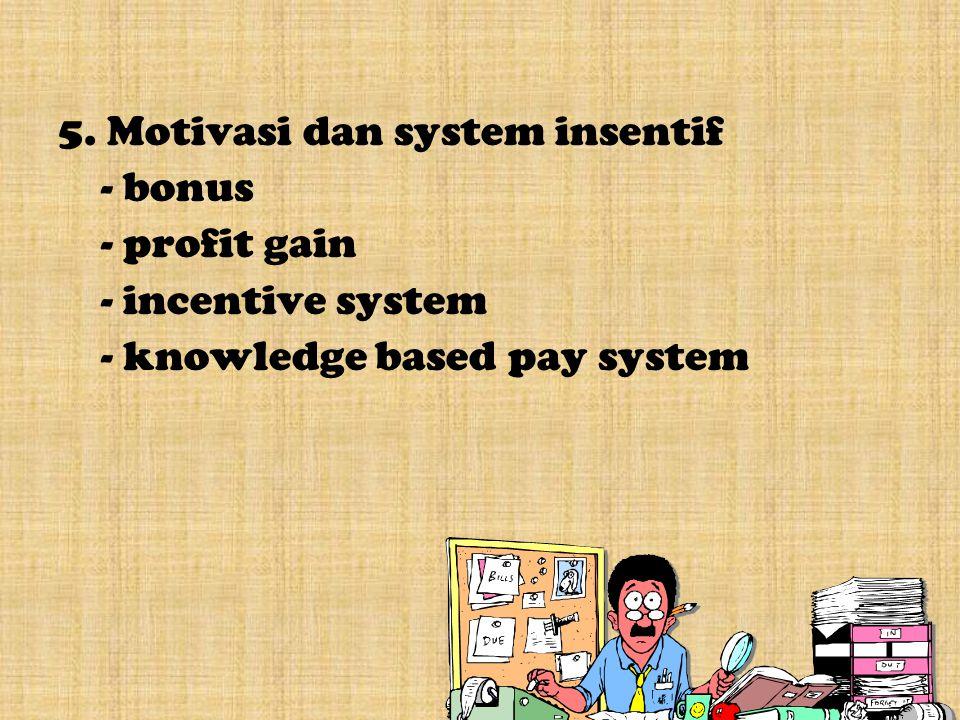 5. Motivasi dan system insentif - bonus - profit gain - incentive system - knowledge based pay system