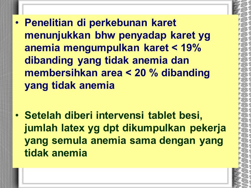 Penelitian di perkebunan karet menunjukkan bhw penyadap karet yg anemia mengumpulkan karet < 19% dibanding yang tidak anemia dan membersihkan area < 2
