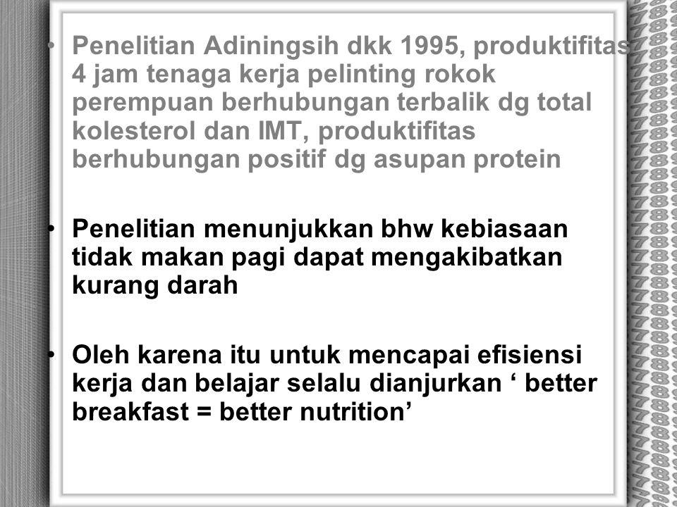 Penelitian Adiningsih dkk 1995, produktifitas 4 jam tenaga kerja pelinting rokok perempuan berhubungan terbalik dg total kolesterol dan IMT, produktif