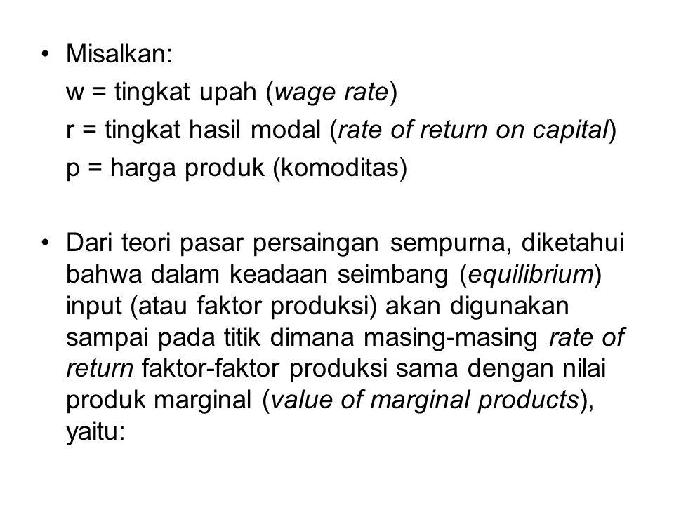 Misalkan: w = tingkat upah (wage rate) r = tingkat hasil modal (rate of return on capital) p = harga produk (komoditas) Dari teori pasar persaingan sempurna, diketahui bahwa dalam keadaan seimbang (equilibrium) input (atau faktor produksi) akan digunakan sampai pada titik dimana masing-masing rate of return faktor-faktor produksi sama dengan nilai produk marginal (value of marginal products), yaitu: