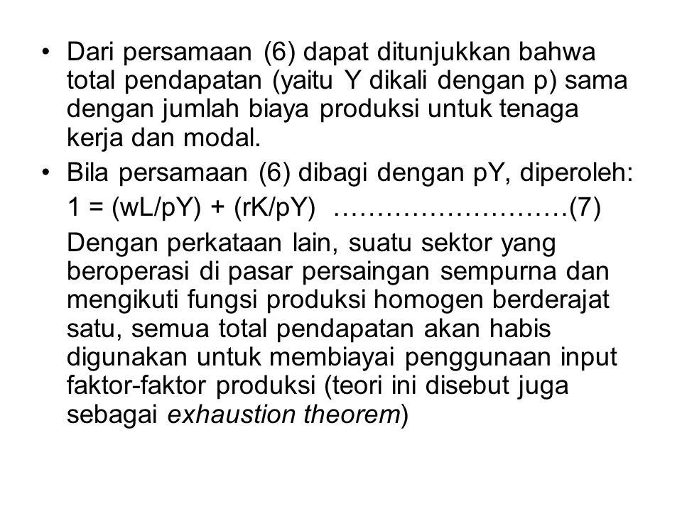 Dari persamaan (6) dapat ditunjukkan bahwa total pendapatan (yaitu Y dikali dengan p) sama dengan jumlah biaya produksi untuk tenaga kerja dan modal.