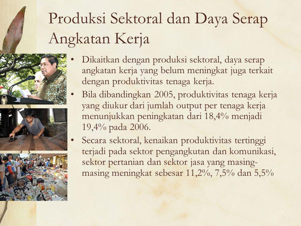Produksi Sektoral dan Daya Serap Angkatan Kerja Dikaitkan dengan produksi sektoral, daya serap angkatan kerja yang belum meningkat juga terkait dengan