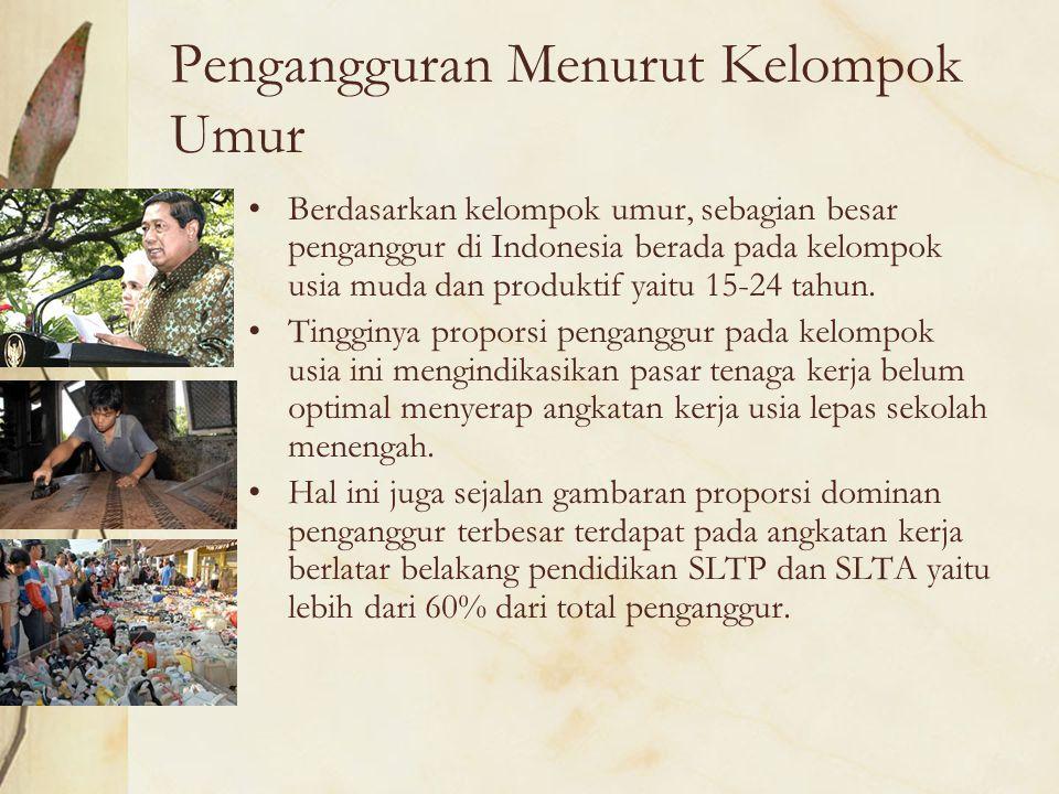 Pengangguran Menurut Kelompok Umur Berdasarkan kelompok umur, sebagian besar penganggur di Indonesia berada pada kelompok usia muda dan produktif yait