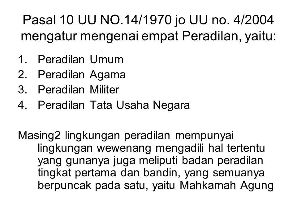 Pasal 10 UU NO.14/1970 jo UU no. 4/2004 mengatur mengenai empat Peradilan, yaitu: 1.Peradilan Umum 2.Peradilan Agama 3.Peradilan Militer 4.Peradilan T