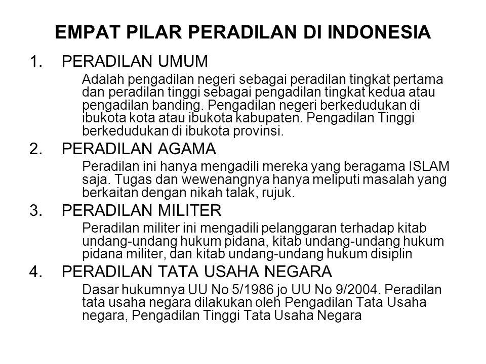 EMPAT PILAR PERADILAN DI INDONESIA 1.PERADILAN UMUM Adalah pengadilan negeri sebagai peradilan tingkat pertama dan peradilan tinggi sebagai pengadilan