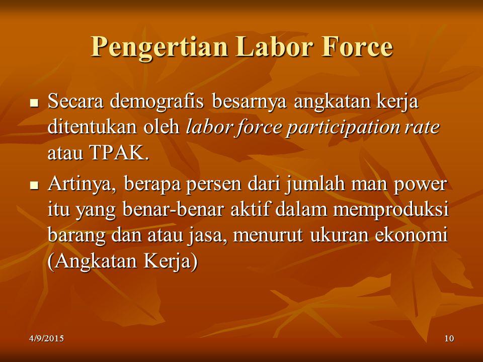 Pengertian Labor Force Secara demografis besarnya angkatan kerja ditentukan oleh labor force participation rate atau TPAK. Artinya, berapa persen dari