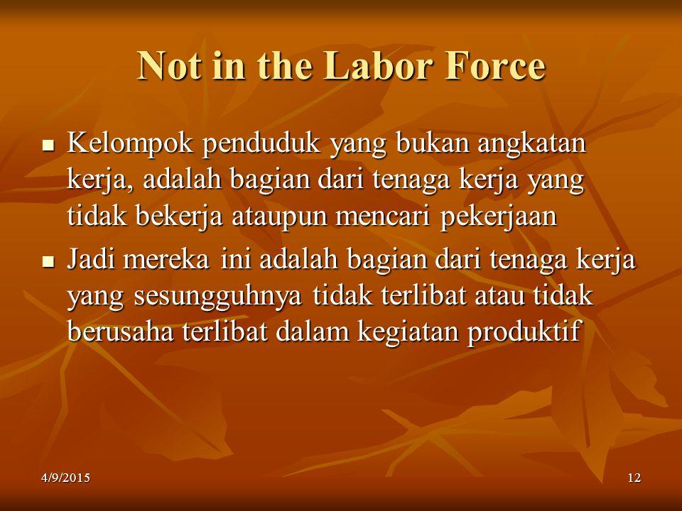 Not in the Labor Force Kelompok penduduk yang bukan angkatan kerja, adalah bagian dari tenaga kerja yang tidak bekerja ataupun mencari pekerjaan Kelom
