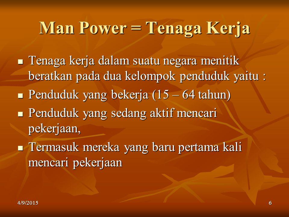 Man Power = Tenaga Kerja Tenaga kerja dalam suatu negara menitik beratkan pada dua kelompok penduduk yaitu : Penduduk yang bekerja (15 – 64 tahun) Pen