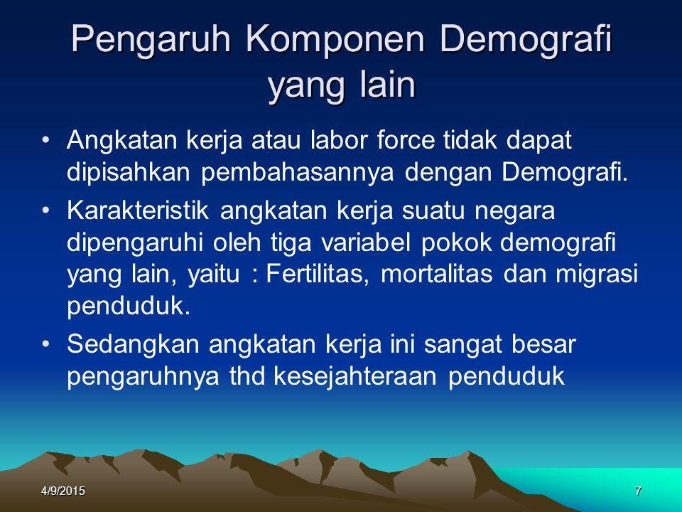 Pengaruh Komponen Demografi yang lain Angkatan kerja atau labor force tidak dapat dipisahkan pembahasannya dengan Demografi. Karakteristik angkatan ke