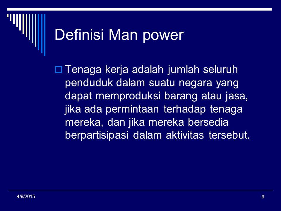 Definisi Man power  Tenaga kerja adalah jumlah seluruh penduduk dalam suatu negara yang dapat memproduksi barang atau jasa, jika ada permintaan terha