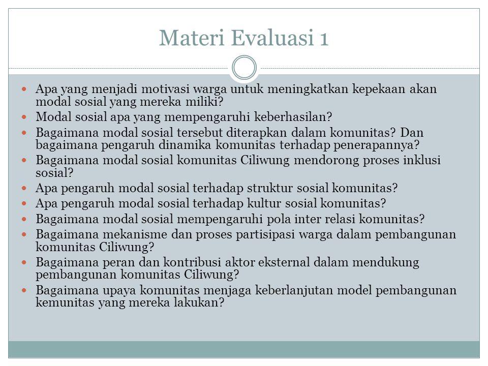 Materi Evaluasi 1 Apa yang menjadi motivasi warga untuk meningkatkan kepekaan akan modal sosial yang mereka miliki? Modal sosial apa yang mempengaruhi