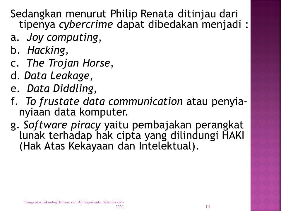 Sedangkan menurut Philip Renata ditinjau dari tipenya cybercrime dapat dibedakan menjadi : a. Joy computing, b. Hacking, c. The Trojan Horse, d. Data