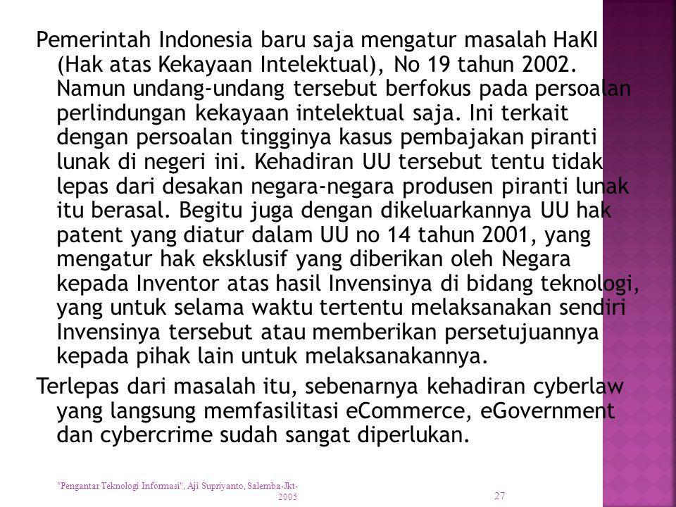 Pemerintah Indonesia baru saja mengatur masalah HaKI (Hak atas Kekayaan Intelektual), No 19 tahun 2002. Namun undang-undang tersebut berfokus pada per