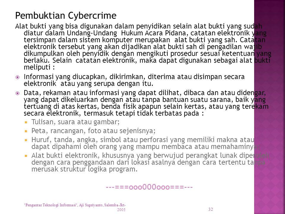 Pembuktian Cybercrime Alat bukti yang bisa digunakan dalam penyidikan selain alat bukti yang sudah diatur dalam Undang-Undang Hukum Acara Pidana, catatan elektronik yang tersimpan dalam sistem komputer merupakan alat bukti yang sah.