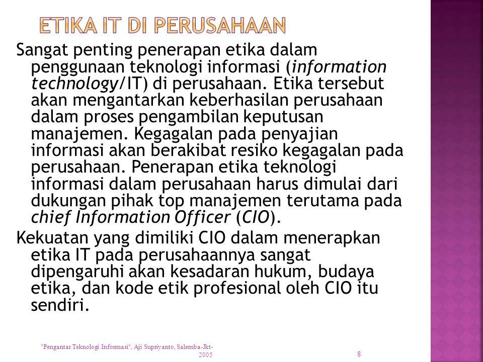 Sangat penting penerapan etika dalam penggunaan teknologi informasi (information technology/IT) di perusahaan. Etika tersebut akan mengantarkan keberh