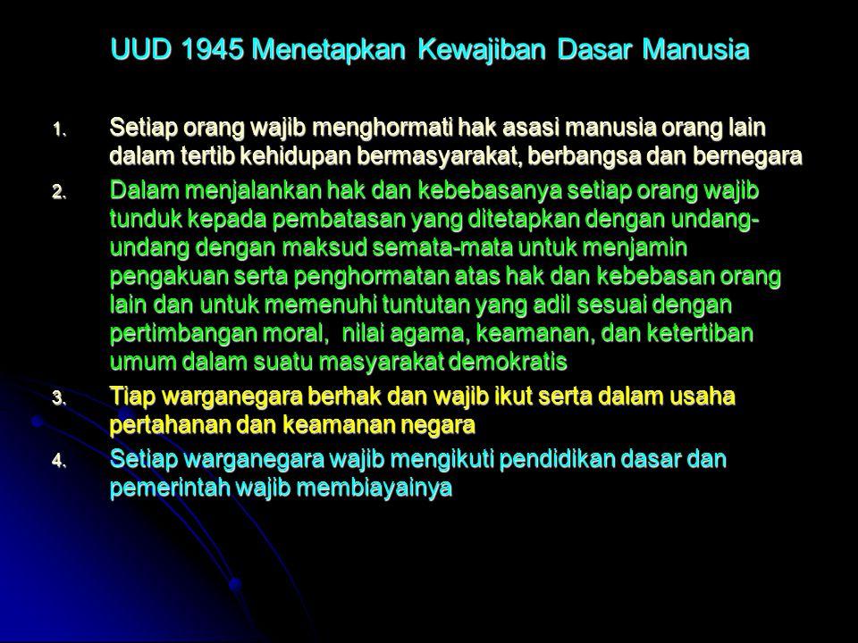 UUD 1945 Menetapkan Kewajiban Dasar Manusia 1. Setiap orang wajib menghormati hak asasi manusia orang lain dalam tertib kehidupan bermasyarakat, berba