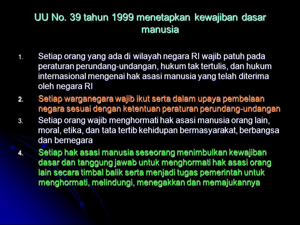 UU No. 39 tahun 1999 menetapkan kewajiban dasar manusia 1. Setiap orang yang ada di wilayah negara RI wajib patuh pada peraturan perundang-undangan, h