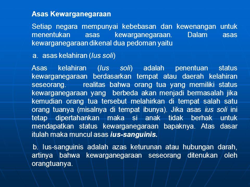 Asas Kewarganegaraan Setiap negara mempunyai kebebasan dan kewenangan untuk menentukan asas kewarganegaraan.