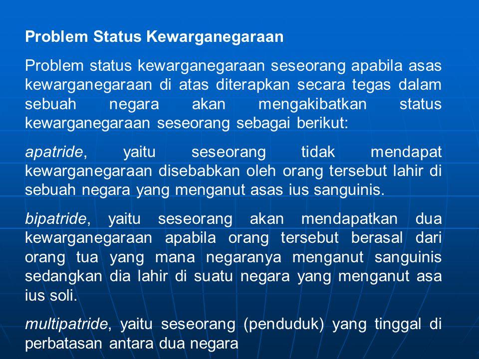 Problem Status Kewarganegaraan Problem status kewarganegaraan seseorang apabila asas kewarganegaraan di atas diterapkan secara tegas dalam sebuah nega