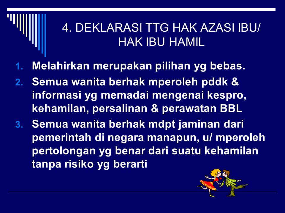 4.DEKLARASI TTG HAK AZASI IBU/ HAK IBU HAMIL 1. Melahirkan merupakan pilihan yg bebas.