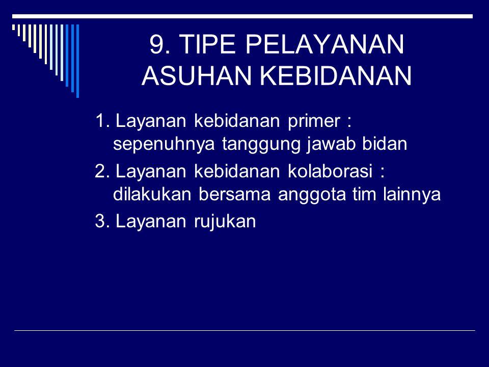 9.TIPE PELAYANAN ASUHAN KEBIDANAN 1. Layanan kebidanan primer : sepenuhnya tanggung jawab bidan 2.