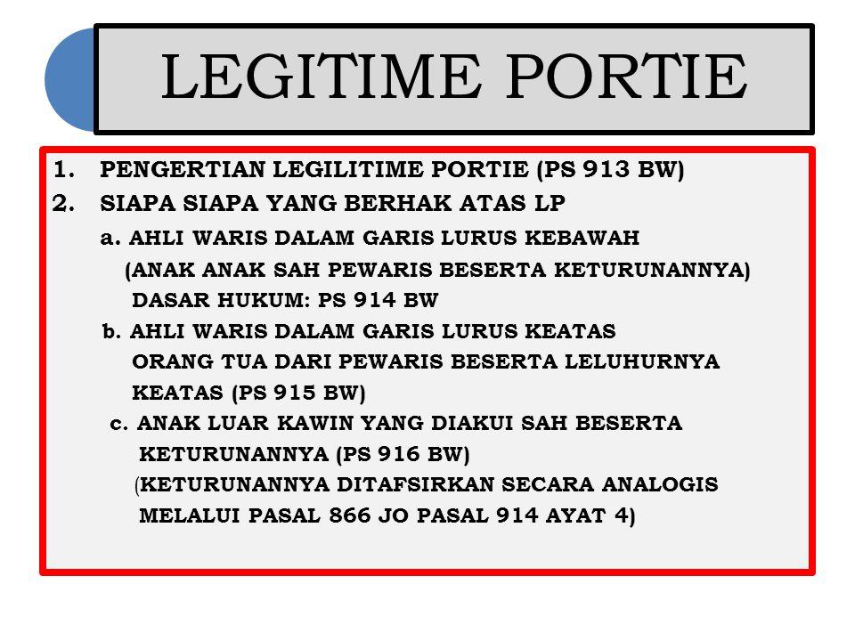 LEGITIME PORTIE 1.PENGERTIAN LEGILITIME PORTIE (PS 913 BW) 2.SIAPA SIAPA YANG BERHAK ATAS LP a. AHLI WARIS DALAM GARIS LURUS KEBAWAH (ANAK ANAK SAH PE
