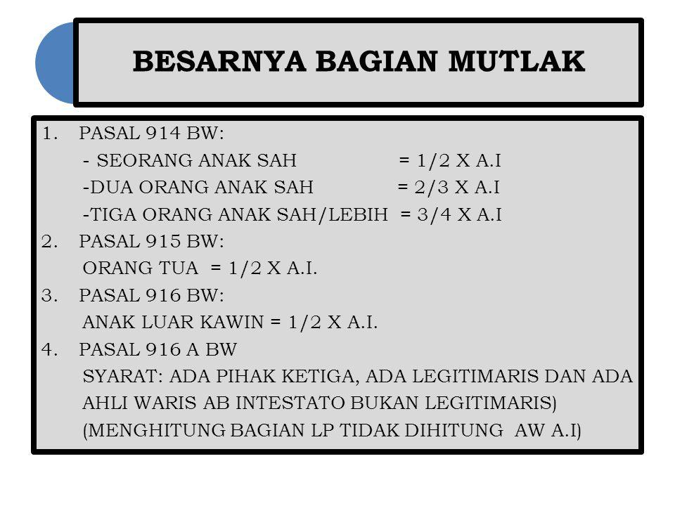 BESARNYA BAGIAN MUTLAK 1.PASAL 914 BW: - SEORANG ANAK SAH = 1/2 X A.I -DUA ORANG ANAK SAH = 2/3 X A.I -TIGA ORANG ANAK SAH/LEBIH = 3/4 X A.I 2.PASAL 9